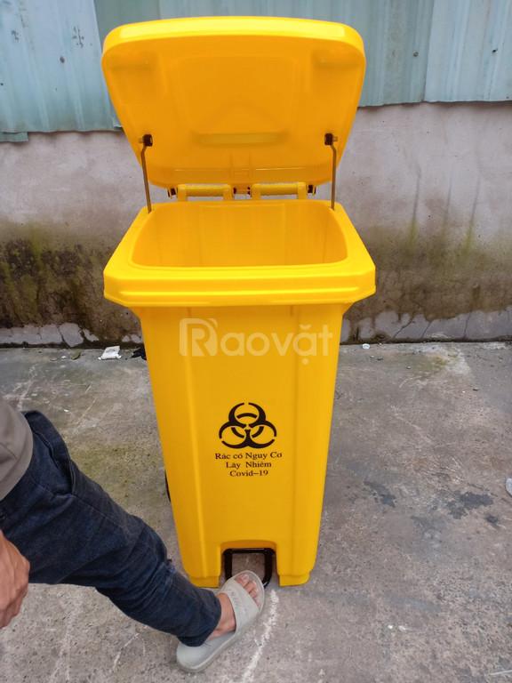 Thùng rác y tế đạp chân 120l, thùng rác đựng chất thải