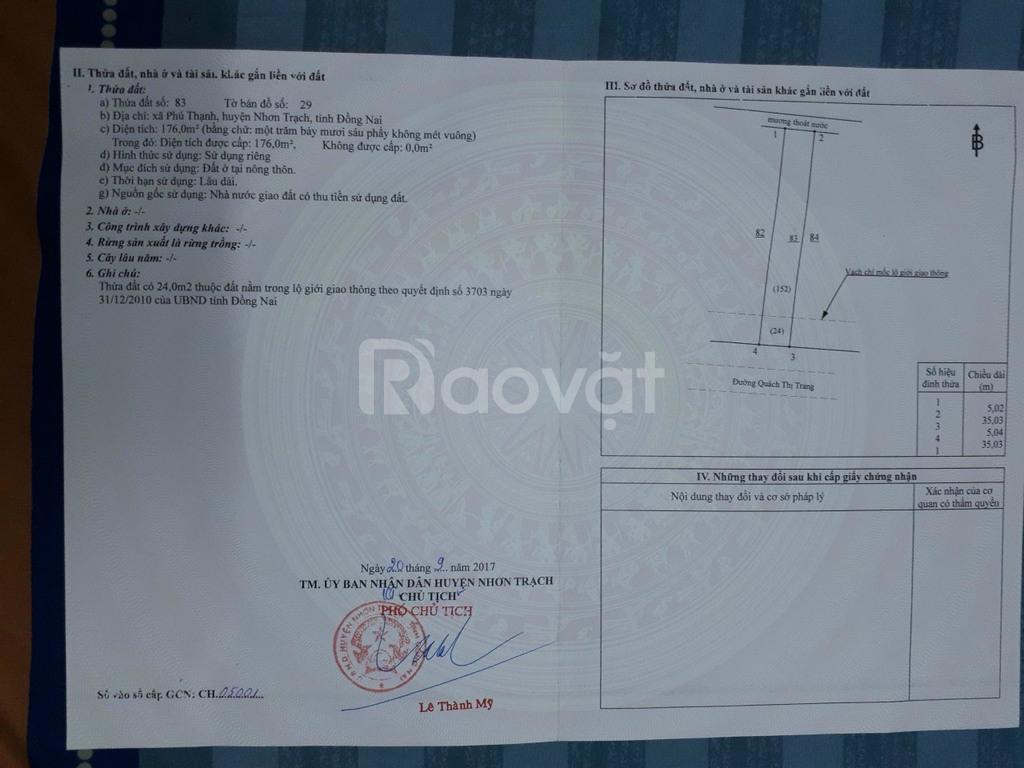 Đất Nhơn Trạch 175m2, full thổ, MT Quách Thị Trang, Phú Thạnh