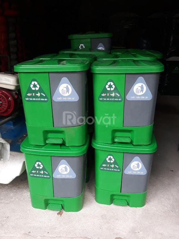 Thùng rác 2 ngăn, thùng rác 40 lít đạp chân giá rẻ