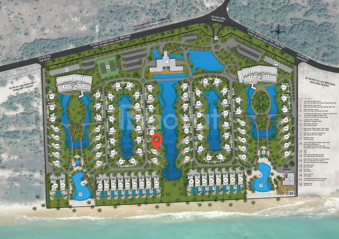 Bán biệt thự Melia Hồ Tràm 3PN, 628.39m2, full nội thất, view biển