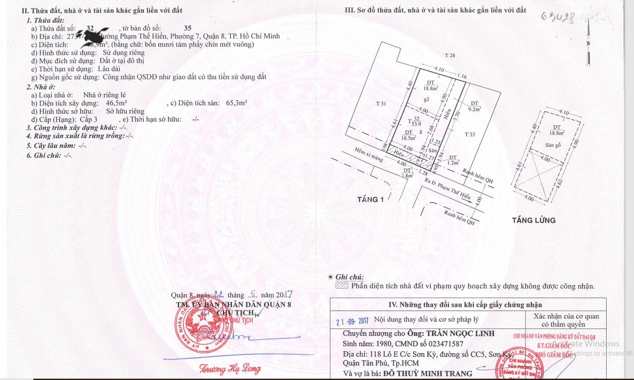 Cần bán nhà phường 7, Q.8, diện tích 58.3m2, cách cầu Bà Tàng 500m