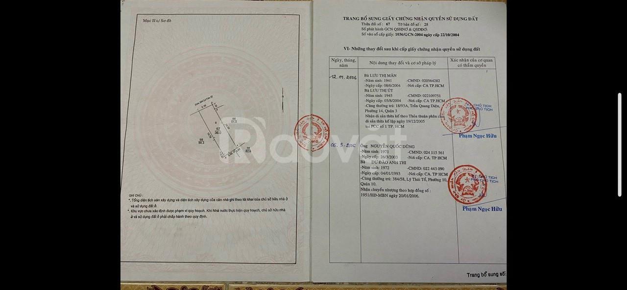 Bán nhà hẻm thông 3m, 284/42 Lê Văn Sỹ, P.14, Q.3, DT 3,2x12m (36m2)