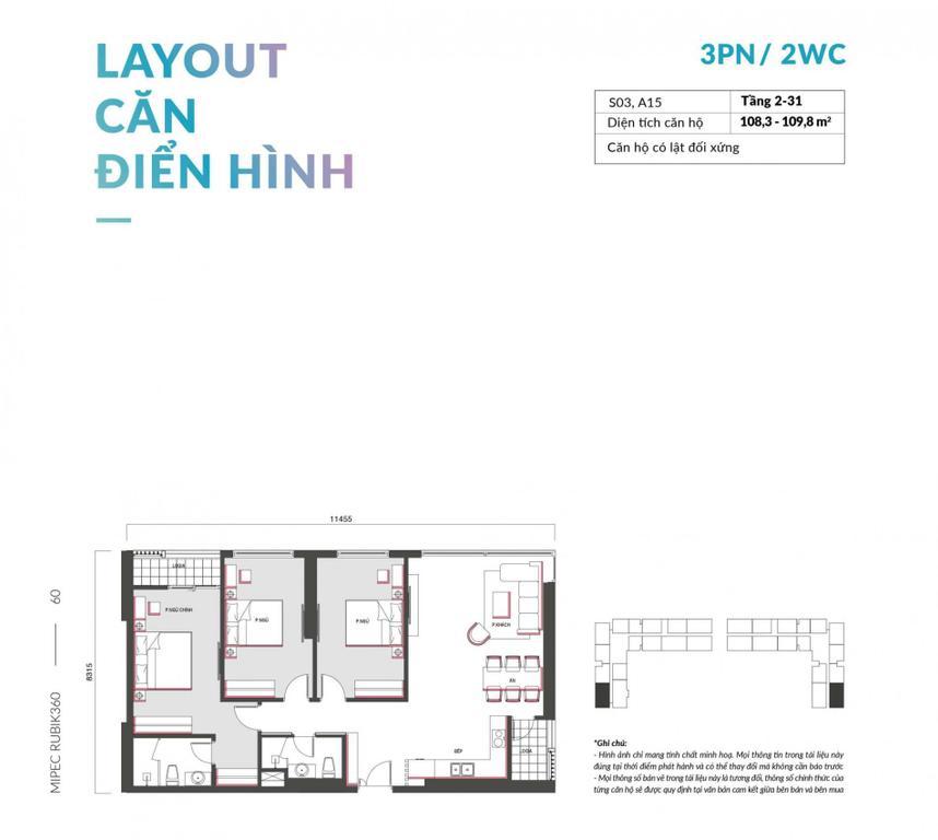 Cần bán căn hộ 3 phòng ngủ, 109.8m2 căn góc Đông Nam đẹp