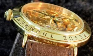 Đồng hồ xưa Revue Thommen lộ cơ trên dưới máy vàng