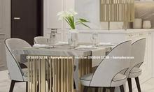 Nợi bán bàn ăn inox mạ màu titan 6 ghế cho căn hộ cao cấp tại TP.HCM