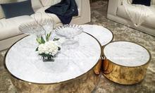 Cửa hàng bàn bàn sofa inox mạ màu mặt đá trắng Ý giá rẻ tại Gò Vấp