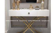 Tìm mua bàn console inox mạ màu mặt gỗ trắng giá rẻ tại TP.HCM