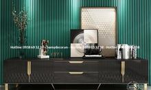 Cửa hàng bán kệ tivi gỗ màu đen khung inox mạ vàng bóng giá rẻ TP.HCM