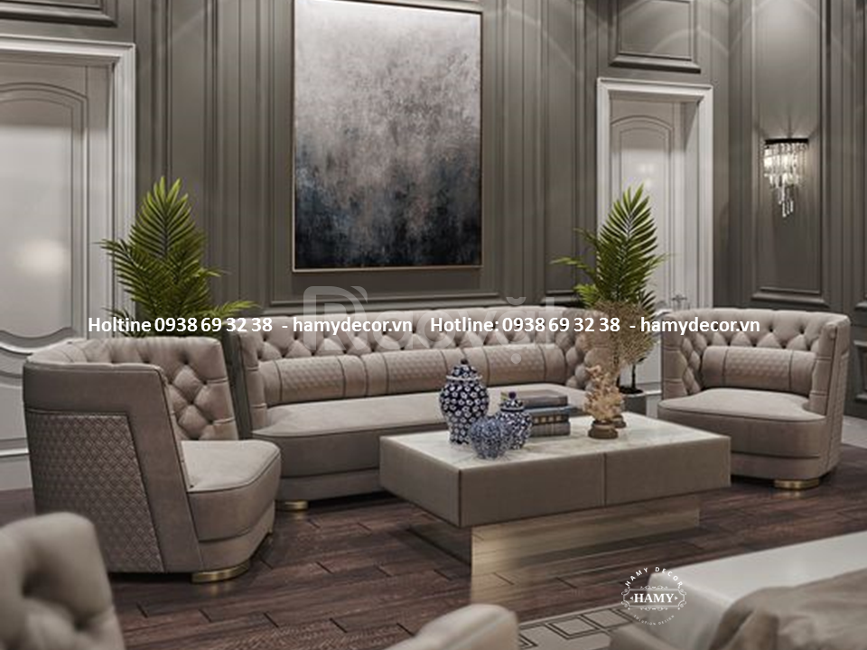 Cung cấp ghế sofa băng cổ điển màu ghi xám cho biệt thự quận 7, TPHCM