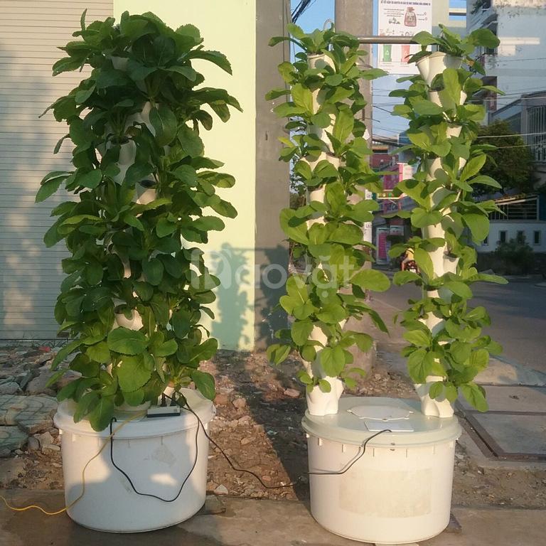 Trụ trồng rau thuỷ canh combo 1 trụ đôi 66 rọ