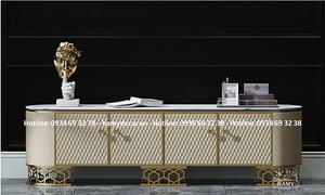 Mẫu kệ tivi gỗ mặt đá khung inox mạ vàng đẹp sang trọng cho căn hộ HCM