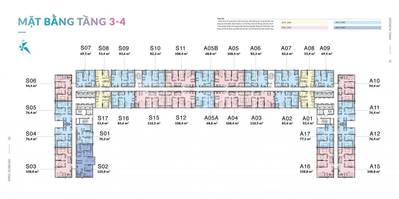 Căn hộ 3 phòng ngủ rẻ dự án Mipec Rubik 360