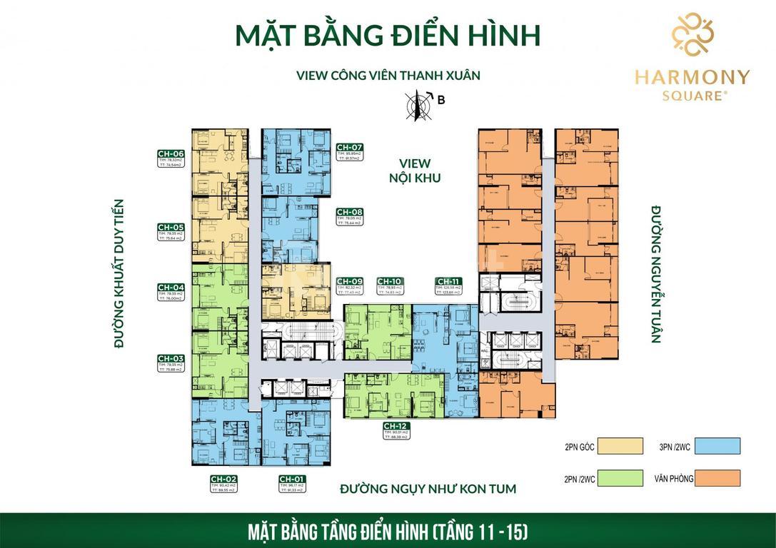 Chung cư Nguyễn Tuân, 77m2, LS 0% 12 tháng, Ck 3%