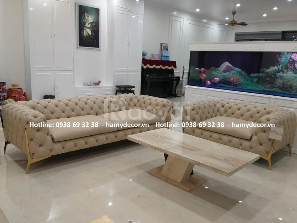 Mẫu ghế sofa tân cổ điển chân inox mạ vàng sang cho phòng khách