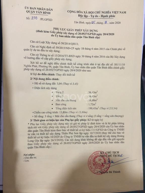 Xin phép xây dựng quận Tân Bình