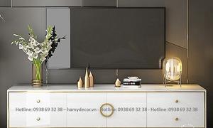 Nơi bán kệ tivi gỗ màu trắng chân inox mạ vàng đẹp cho căn hộ tại HCM