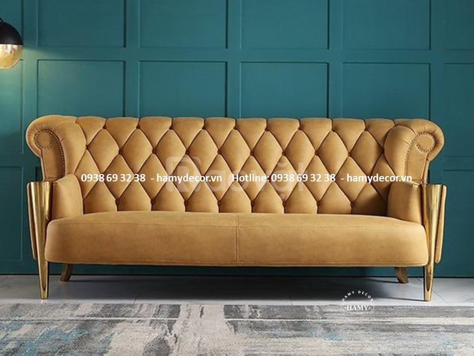 Cửa hàng bán ghế sofa tân cổ điên chân inox mạ vàng đẹp tại Cần Thơ