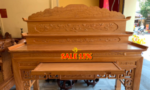 Giảm 15% bàn thờ tam cấp triện hoa sen 1.97m SD548