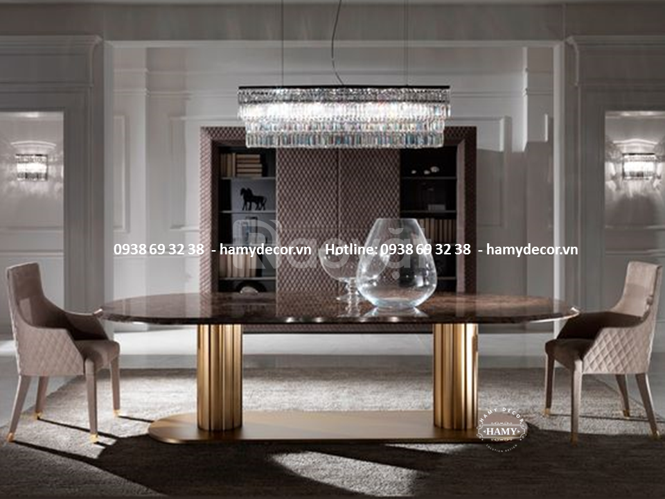Địa chỉ bán bàn ăn inox mạ vàng mặt đá Marble đẹp sang tại Vũng Tàu