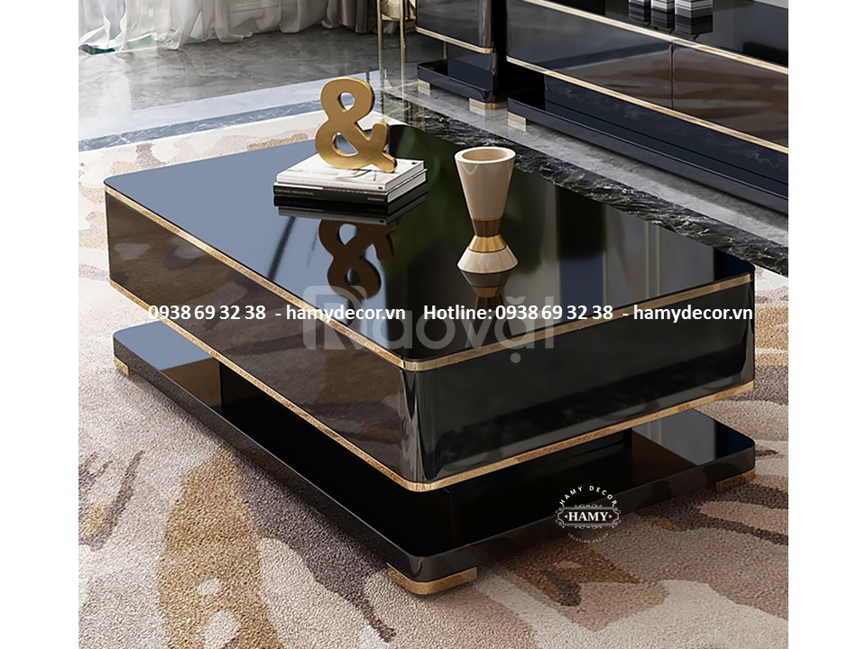 Địa chỉ bán bàn trà gỗ khung inox mạ vàng đẹp giá rẻ tại TPHCM