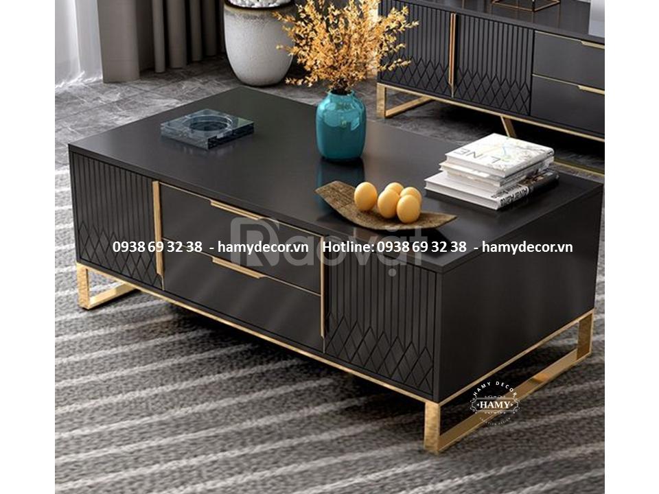 Mẫu bàn trà mặt gỗ khung inox mạ Vàng đẹp sang trọng đẳng cấp cho biệt