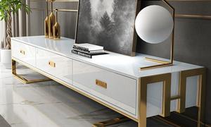 Cửa hàng bán kệ tivi màu trắng chân inox mạ vàng đẹp sang cho căn hộ