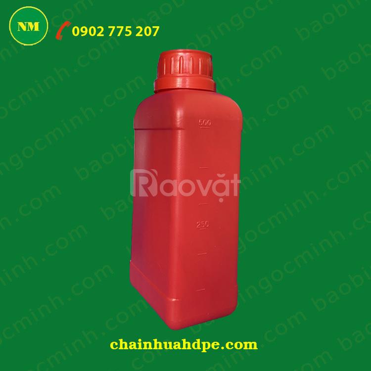 Chai nhựa HDPE 500ml ga vặn, chai nhựa đựng thuốc BVTV