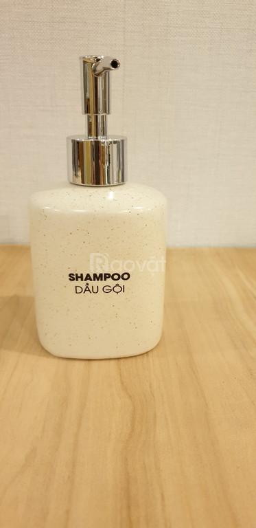 Bình gốm đựng dầu gội, xả, sữa tắm, nước rửa tay