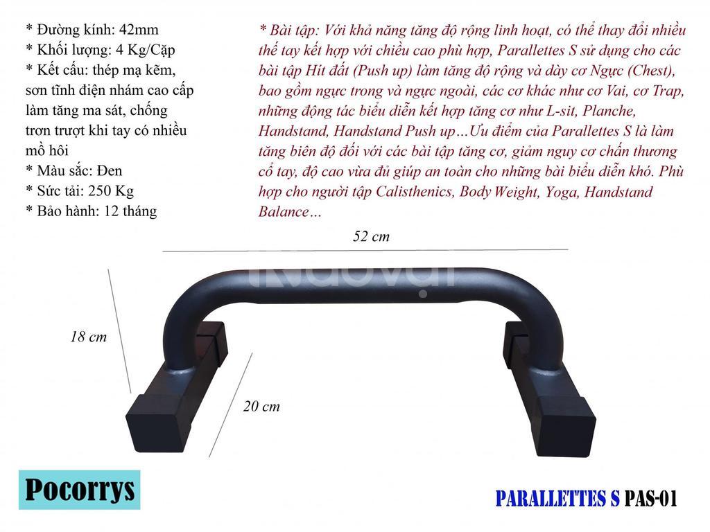 Parallettes S full black, xà kép mini Pocorrys PAS-01