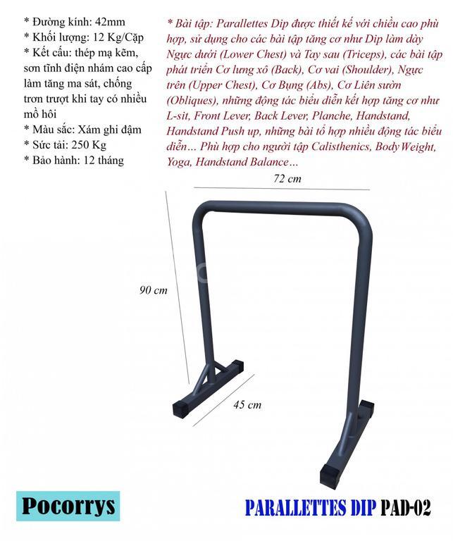 Parallettes Dip xà kép mini Pocorrys PAD-02