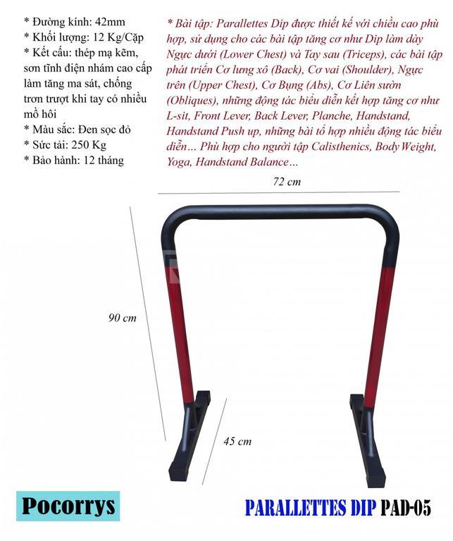 Parallettes Dip xà kép mini Pocorrys PAD-05