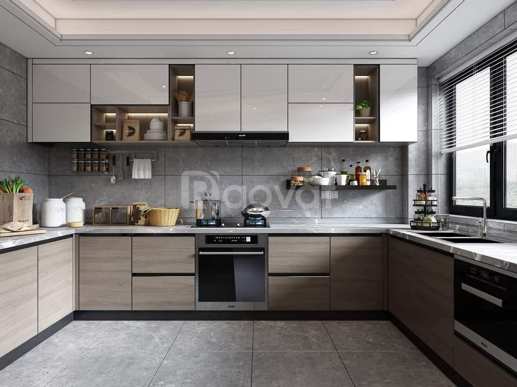 Thi công tủ bếp gỗ công nghiệp Tp.HCM, tủ bếp hiện đại đẹp 2021