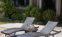 Giường tắm nắng, giường bể bơi mây nhựa BB008