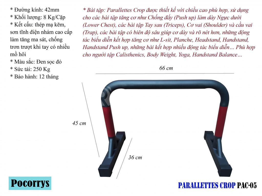 Parallettes Crop cao 45cm xà kép mini Pocorrys PAC-05