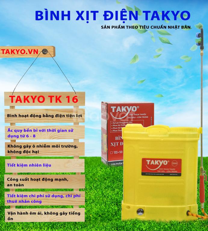 Bình xịt điện Takyo TK16, bảo hành 18 tháng