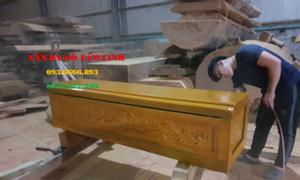 Quan tài gỗ vàng tâm chạm sen thiên 10