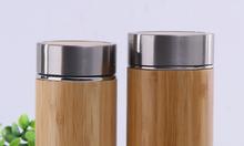 Bình giữ nhiệt tre in khắc logo theo yêu cầu