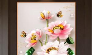 Tranh hoa sen, gạch tranh ốp tường HP032554