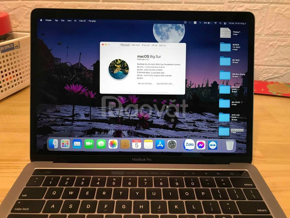 Macbook Pro 2019, core i5, ram 8gb, SSD 128gb còn bảo hành FPT