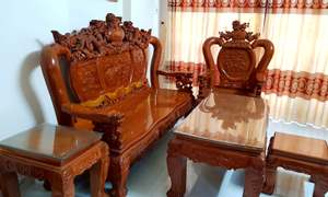 Bộ bàn ghế salon gỗ gõ đỏ tay 14 chạm kỳ lân 6 món