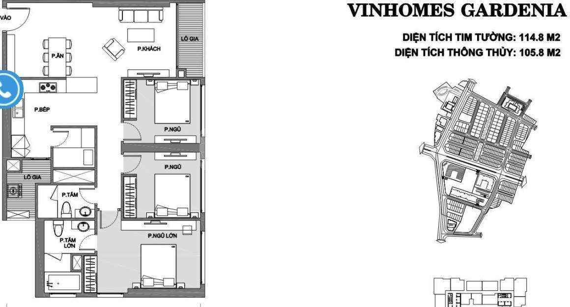 Cho thuê căn hộ Vinhomes Gardenia, căn hộ 3 phòng ngủ