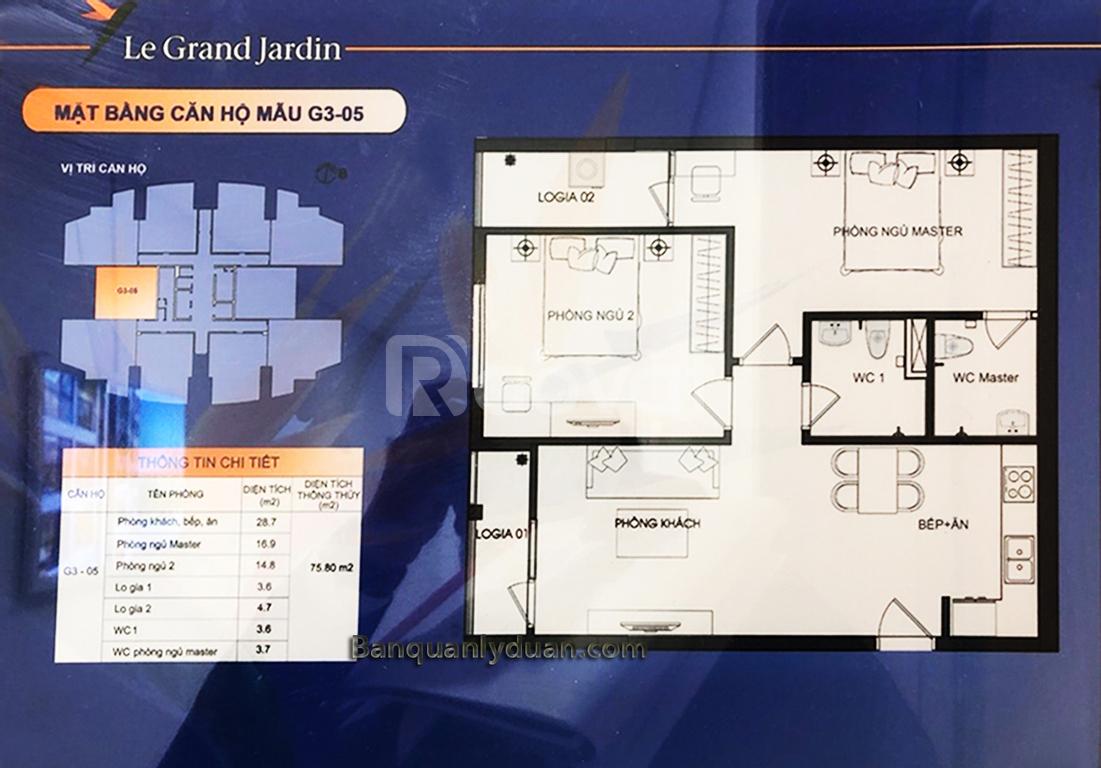 Bán căn hộ 76m 2PN rẻ Le Grand Jardin Sài Đồng
