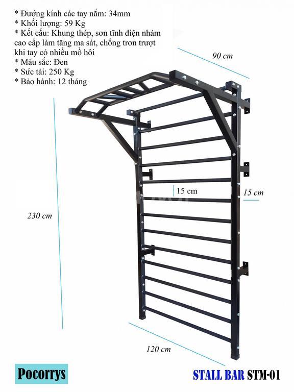 Thang gióng kết hợp xà đơn đa năng Stall bar Pocorrys STM-01