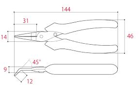 Kìm nhọn không gỉ đầu cong 140mm SPB-140 Tsunoda
