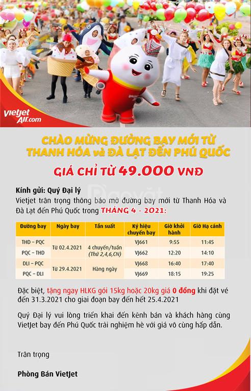 Khuyến mãi đường bay Thanh Hóa, Đà Lạt đi Phú Quốc trong tháng 4