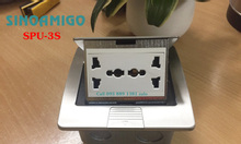 Hộp âm sàn, ổ điện âm sàn SPU-3S inox màu bạc gồm 2 ổ điện đa năng
