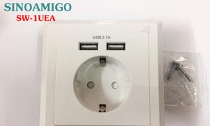 Ổ điện Schuko kèm 2 ổ USB 5V-2.1A lắp âm tường
