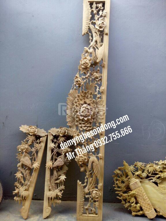 Cửa võng bằng gỗ đẹp trang trí cho gian thờ cúng gia tiên nhà thờ họ