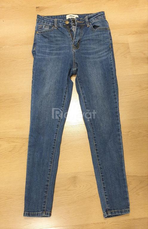 Quần jeans dài, kiểu ôm, cạp cao, còn mới, đẹp