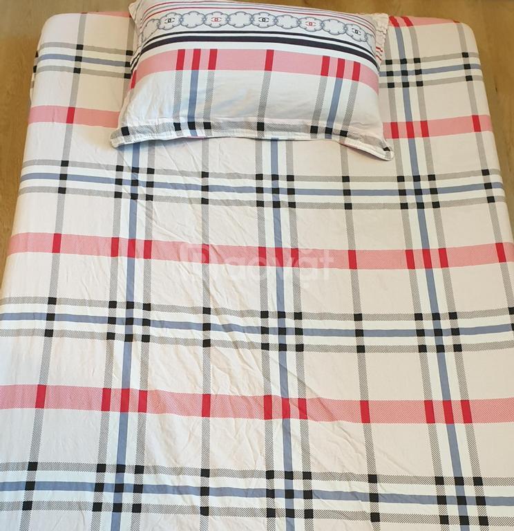 Ga drap 1m kèm vỏ gối, cotton 100%, mới, đẹp